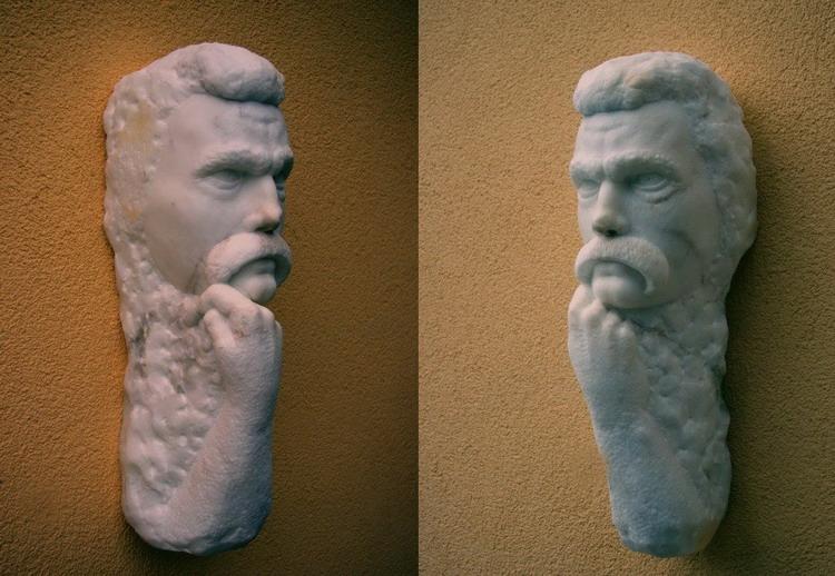Figur aus Marmor, männlicher Kopf, Bildhauer Reinhold Bauer