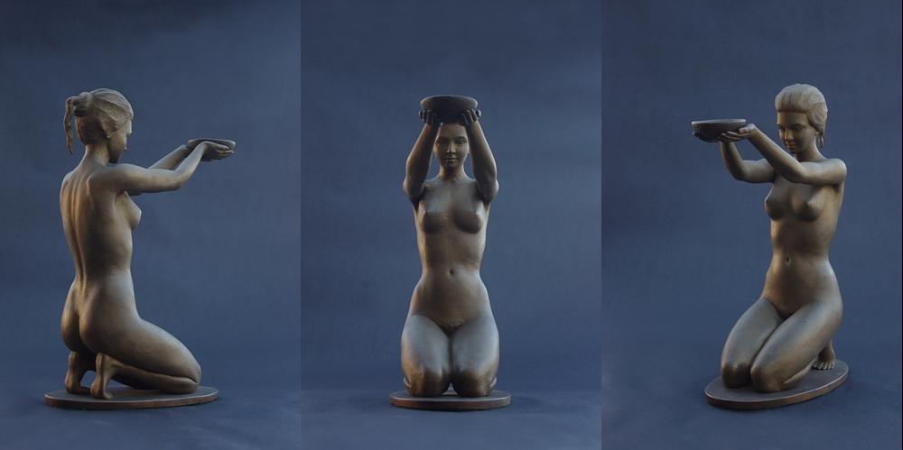 Figur aus Bronze, Hebe, weiblicher Akt mit darreichender Schale, Bildhauer Reinhold Bauer