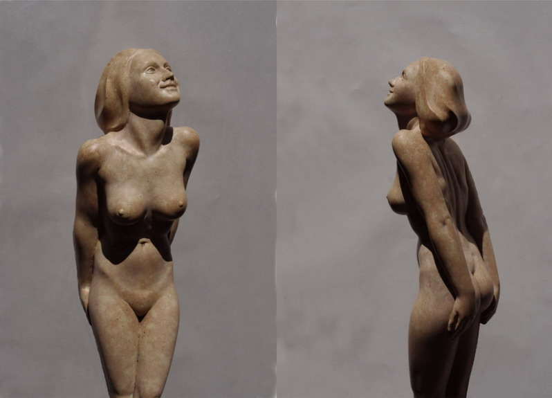 Figur aus Marmor, weiblicher Akt Kess, Bildhauer Reinhold Bauer