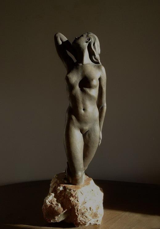 Figur aus Bronze, weiblicher Akt Rheintochter, Bildhauer Reinhold Bauer