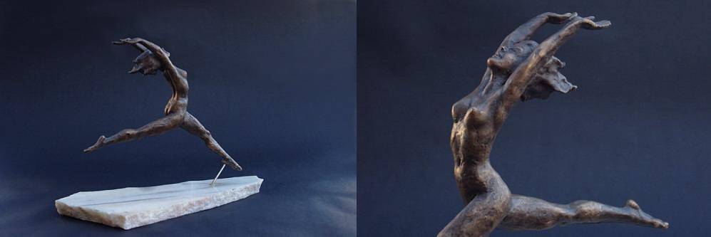 Figur aus Bronze, weiblicher Akt im Sprung, Bildhauer Reinhold Bauer
