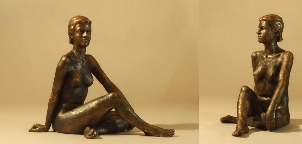 Figur aus Bronze, weiblicher Akt, Sitzende, Bildhauer Reinhold Bauer