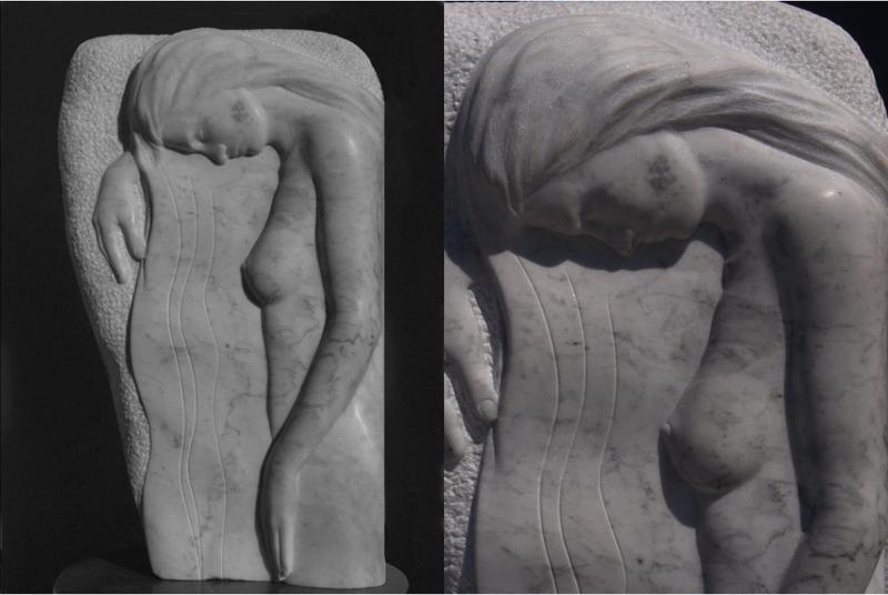 """Halbrelief aus Carrara - Marmor, weiblicher Akt """"Trauernde"""", Bildhauer Reinhold Bauer"""