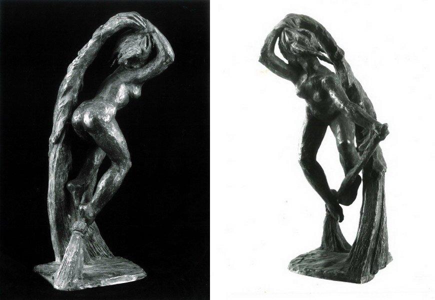 Rauwolf Hexe Bronze 30cm Ges