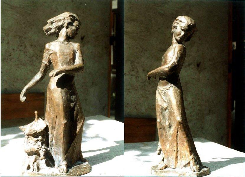 Rauwolf Mädchen mit Waldschrat Bronze_Ges